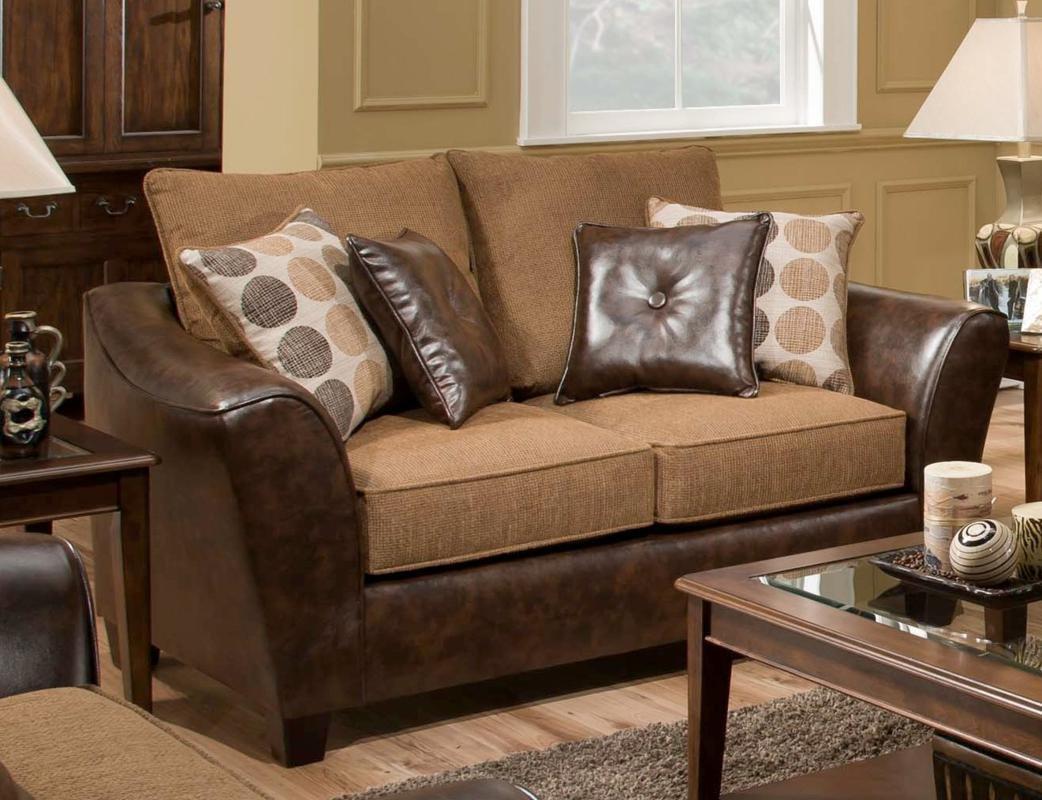Chelsea Home Furniture Union Loveseat - Too Good/PU Chocolate/Tokyo Oak/PU Pillows(4)