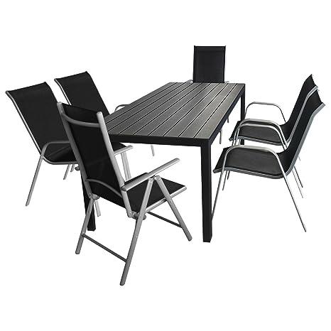 7tlg. Terrassenmöbel Gartenmöbel Set Sitzgarnitur Sitzgruppe Gartengarnitur - Gartentisch, Polywood-Tischplatte, 205x90cm + 4x Stapelstuhl, Textilenbespannung + 2x Hochlehner, klappbar, 7-fach verstellbar
