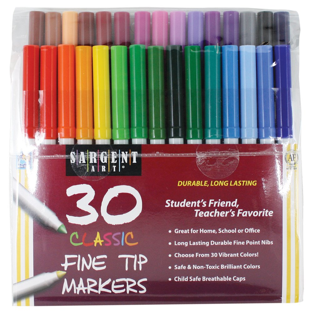 Sargent Art 22-1592 30 Count Classic Markers, Fine Conical Tip, Plastic Peggable Pouch
