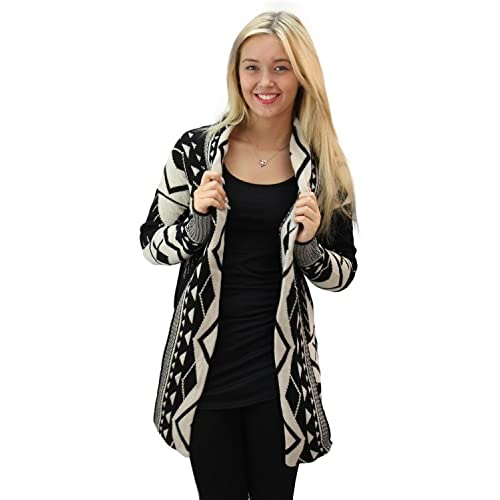 Girltalkfashions Womens Aztec Long Sleeve Chuncky Open Cardigan