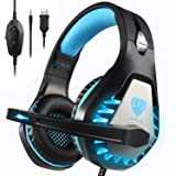 Pacrate Gaming Headset for Xbox One, PS4, PC, Mac, Nintendo, Laptop with Noise Cancelling Mic - 7.1 Surround Gaming Headphones - Soft Memory Over Ear PS4 Headset with LED Light for Child, Men, Women (Color: Black Blue)