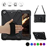 iPad mini Case [iPad mini 3 Case][iPad mini 2 Case] Full Body [Shock Proof For Kids Case] -360 Degrees Swivel Stand and Hand Grip Strap / a Shoulder Strap For mini1/2/3 Case