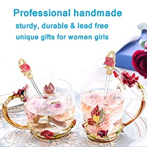 Lilyss Tea Cups Coffee Mug with Lid Spoon for Women Girls Unique Beautiful Sturdy Durable Handmade Rose Flower Clear Tea Cups Birthday Gift Idea for Women Mom Wife Sister Daughter Friend Blue Short