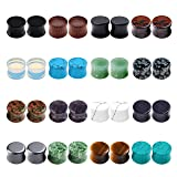 PiercingJ Acrylic Wood Mixed Stone Plugs 16 Pairs/32 Pieces Set Ear Plugs Ear Tunnels Ear Gauges Double Flared Ear Expander Stretcher Set (Color: Multicolor, Tamaño: Large)