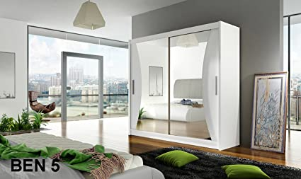 WARDROBE BEN 5 WHITE 180 cm 2 sliding doors many colours