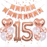 EASUTE Birthday Decorations Pink Happy Birthday Banner 40inch Rose Gold Number 15 Balloons Rose Gold Confetti Balloons 1