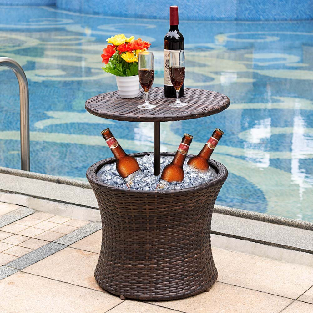 Sundale Outdoor 7.5 Gallon Deluxe Patio Pool Cooler Table All Weather Patio Cool Bar Cooling Bins ,Brown Wicker
