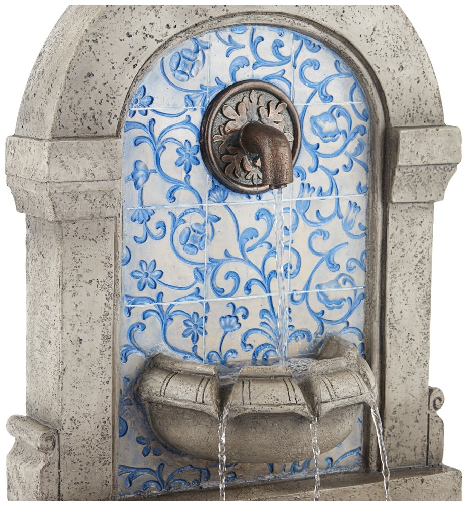 "Manhasset 30 1/4"" High Stone and Blue Outdoor Wall Fountain"