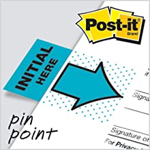 "Post-it  Message Flags, ""Initial Here"", Blue, 1-Inch Wide, 50/Dispenser, 2-Dispensers/Pack"