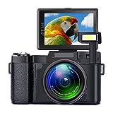 Digital Camera SEREE Camcorder Full HD 1080P 24.0 Megapixels 4x Digital Zoom Retractable Flash light 3 Inch Screen (Color: black1)