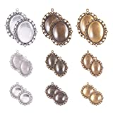 PH PandaHall 18pcs 3 Size Bezel Pendant Trays Cabochon Settings Trays Pendant Blanks with 18pcs Glass Cabochon Dome Tiles Clear Cameo(Antique Silver, Antique Bronze, Antique Golden) (Color: 3 Color 3 Style - 18 Sets, Tamaño: 3 Mixed Sizes- 18 Sets)