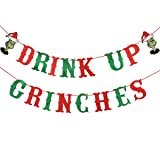 Red & Green Glittery Drink Up Grinches Banner- Christmas Holiday Party Decorations,Mantle Home Decor,New Years Eve Party Decorations