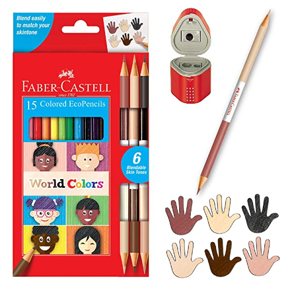 Faber-Castell World Colors EcoPencils - 15 Colored Pencils & Grip Trio Pencil Sharpener (Sharpener Color May Vary) (Color: Multi)