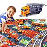 Toyssa 12 Pack Construction Vehicle Play Set Car Carrier Toys Vehicles in Carrier Truck with Blanket Engineering Vehicle Toy Play Diecast Vehicles Toy Cars for Kids Boys Girls