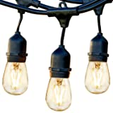 Brightech Ambience Pro - Waterproof LED Outdoor String Lights - Hanging, Dimmable 2W Vintage Edison Bulbs - 48 Ft Commercial Grade Patio Lights Create Cafe Ambience in Your Backyard (Color: Black, Tamaño: 48 Ft Strand)
