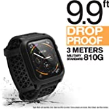 Catalyst Apple Watch Series 4 Impact Case 44mm ECG and EKG Compatible Superior Sport Band Rugged iWatch Protective Case, Drop Proof Shock Proof Apple Watch Case, Stealth Black (Color: Stealth Black)