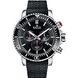 Edox Men's Edox Chronorally S 44mm Black Rubber Band Titanium Case Quartz Analog Watch 10227 Tinca NINN (Color: black)