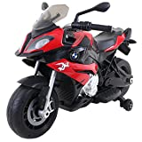 Costzon Kids Ride On Motorcycle, Licensed BMW 12V Battery Powered Motorcycle w/Training Wheels (Red) (Color: Red, Tamaño: 40.2