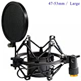 Etubby 47-53mm Microphone Shock Mount with Double Mesh Pop Filter & Screw Adapter, Adjustable Anti Vibration High Isolation Metal Mic Mount Holder Clip for Diameter of 47-53mm Microphone (Color: 47-53mm / L)