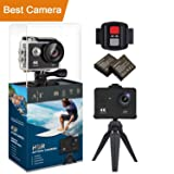 Auto Tech H9S Action Camera 4K Waterproof Wifi Sports Camera Full HD 4K 25FPS 2.7K 30fps 1080P 60fps Video Camera 12MP Photo, 170 Wide Angle Lens Includes 11 Mountings Kit 2 Batteries |Just Like GoPro (Color: Black Sand)
