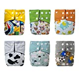 LBB Cloth Diapers With Built-in Bamboo Charcoal Inserts(pack of 6), LBBZH608, One Size (Tamaño: One Size)