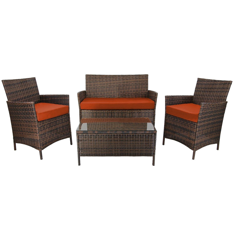 7-teilige Rattan Sitzgruppe Lounge KUBA von BB Sport, Farbe:Natur meliert / Wüstensonne günstig