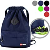 WANDF Drawstring Backpack String Bag Sackpack Cinch Water Resistant Nylon for Gym Shopping Sport Yoga (Navy Blue6030) (Color: A-Navy Blue with shoe pocket)