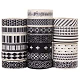 Savena Washi Tape Set for DIY Gift Wrapping Scrapbooking and Craft, Sticky Adhesive Paper Masking Tape with Lovely Printed Patterns and Long-Lasting Colors (19 Rolls, Monochrome, 0.6in x 32.8ft) (Color: Monochrome(19 Rolls, 0.6in X 32.8ft))
