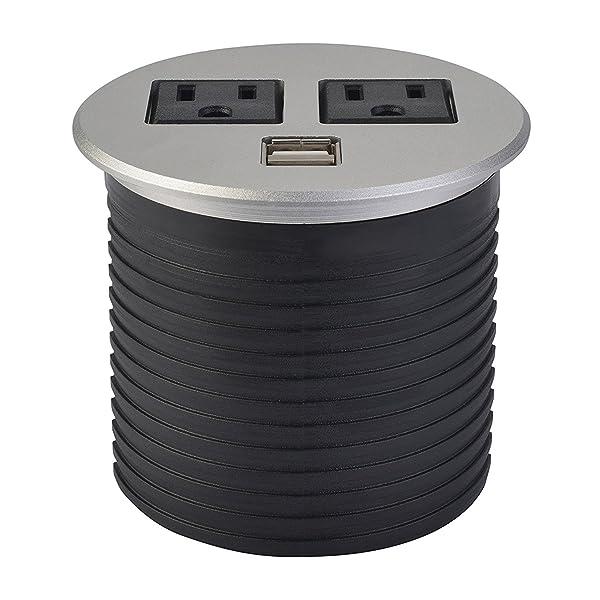 UL Listed Desktop Recessed Power Grommet Hub 2 Power Outlets & Dual USB Ports for Kitchen Office Desk Table (Brushed Metal) (Color: Brushed Metal)