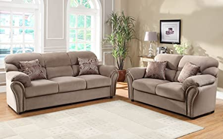 Love Seat and Sofa in Brown Microfiber By Homelegance
