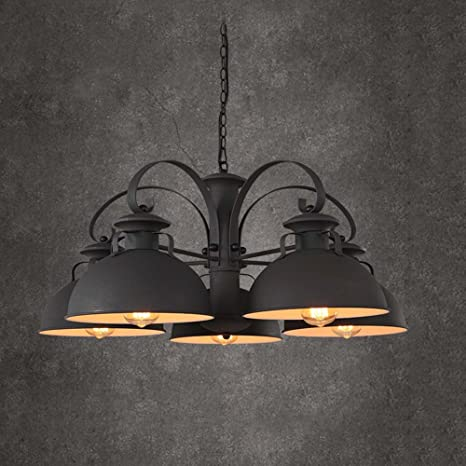 Un conjunto de araña --- Americana loft retro industrial de viento de hierro araña Sala de estar comedor araña Creative Bar Bar Lid Araña (color opcional) (No incluir la fuente de luz) ( Color : C )