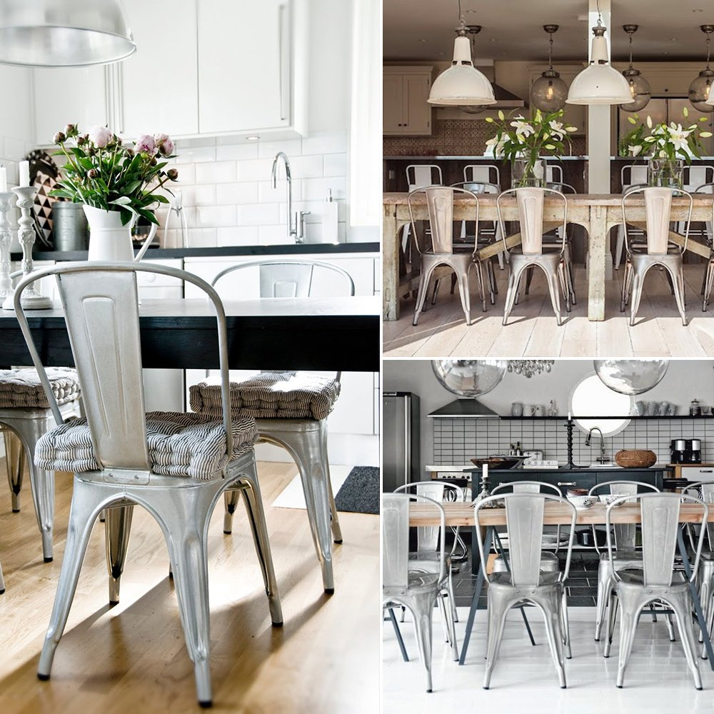 Devoko Metal Indoor-Outdoor chairs Distressed Style Kitchen Dining Chairs Stackable Side Chairs With Back Set of 4 (Silver)