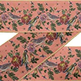 IBA Indianbeautifulart Orange Bird & Dahlia Floral Printed Ribbon Trim 9 Yard Velvet Fabric Laces for Crafts Sewing Accessories 3 Inches (Color: Dark Peach Orange, Tamaño: 3 Inches)