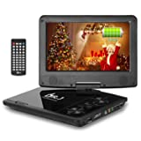 DR. J Professional 5 Hours 9.5 inch Swivel Screen Portable DVD Player With Built-In Rechargeable Battery And USB/SD Card Reader, 5.9'/1.8 m Car Charger And Battery Adapter (Color: Black, Tamaño: 9.5)