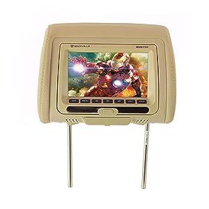 Rockville RVD721-BG 7 Inch Beige Plug N Play Dual DVD/USB/HDMI Car Headrest Monitors (Color: Beige)