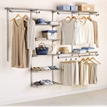 Rubbermaid Configurations Custom Closet Organizer, Deluxe, 4 to 8 Foot, Titanium (FG3H89DWTITNM)