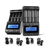Zanflare C4 LCD Display Speedy Universal Battery Charger, Smart Charger for Rechargeable Batteries Ni-MH Ni-Cd A AA AAA SC, Li-ion 18650 26650 26500 22650 18490 17670 17500(2 Pack) (Color: black, Tamaño: 2 Pack)