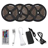 Richsing LED Strip Lights 65.6ft/20M Waterproof Flexible RGB SMD2835 4 x 300LEDs With 12V Power Adapter 44Key Remote (Color: multicolor, Tamaño: 4)