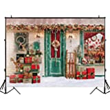 Funnytree 7X5ft Winter Christmas Photography Backdrop Xmas Snow Storefront Cottage Decorations Background Baby Portrait Photobooth Banner Photo Studio Props (Color: style5, Tamaño: Thin vinyl 7'x5'/5'x7')