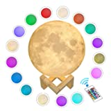 ACED 3D Printed Moon Lamp, LED 16 Colors RGB Moon Night Light Lamp, Remote & Touch Control, Dimmable, Color Changing, USB Recharge, Seamless Lunar Moonlight Lamp with Stand for Baby Bedrooms, 7.1Inch (Color: White, Tamaño: 16 Colors 7.1Inch)