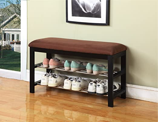 Kings Brand Black / Chocolate Micro Fabric Shoe Rack Organizer & Hallway Bench