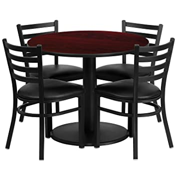 """Flash Furniture 36"""" Round Mahogany Laminate Restaurant Dining Table Set with 4 Ladder Back Metal Chairs Black Vinyl Seat"""
