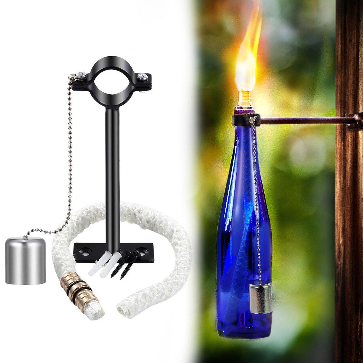 Wine Bottle Tiki Torch,Bottle Torch,DIY Home Decor Kit,Tiki Bar Lighting,Glass Bottle Light for Wine Bottles