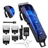 Professional Cordless Rechargeable Hair Clippers for men Beard Trimmer BESTBOMG Hair Cutting Kit for Kids with Taper Lever, Rechargeable Li-ion Battery ICR18650 Heavy Duty Motor (Color: car blue)