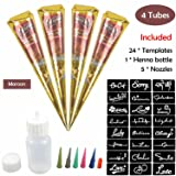 COKOHAPPY Temporary Tattoo Kit, 4 Tube Brown Paste Cone Indian Body Art Painting Drawing with 24 x adhesive Stencil, 1 x Applicator Bottle and 5 x Plastic Nozzle (Color: 4 Brown Mehdi)