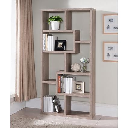 Verena Contoured Leveled Display Cabinet/ Bookcase Shelves Light Oak