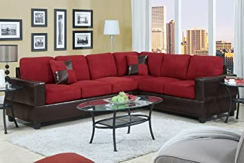 Poundex F7638 Red Microfiber & Dark Brown Leatherette Base Sectional Sofa