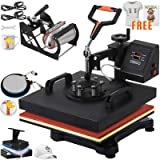 VEVOR Heat Press 15x15 Inch Heat Press Machine 5 in 1 Heat Transfer Press Multifunctional Sliding Rails Heat Press Machine for T Shirts Cap Press Cup Press Plate(Free T-Shirts and Stickers) (Color: 15x15INCH/5IN1, Tamaño: 15x15/5in1)