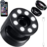 2 in 1 Cellphone Lens with Selfie Light, KEKU Universal 8 LED Rechargeable Flash Light with 10X Macro Lens & 0.65X Wide Angle Lens, 4 Adjustable Brigh