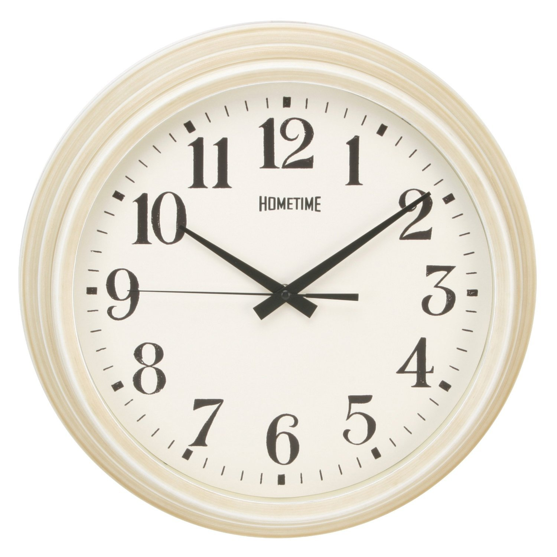 Large Deep Case Ridge Porthole Wall Clock Cream Big